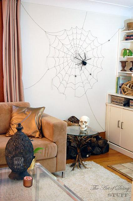 Living-room-spider-web-for-halloween