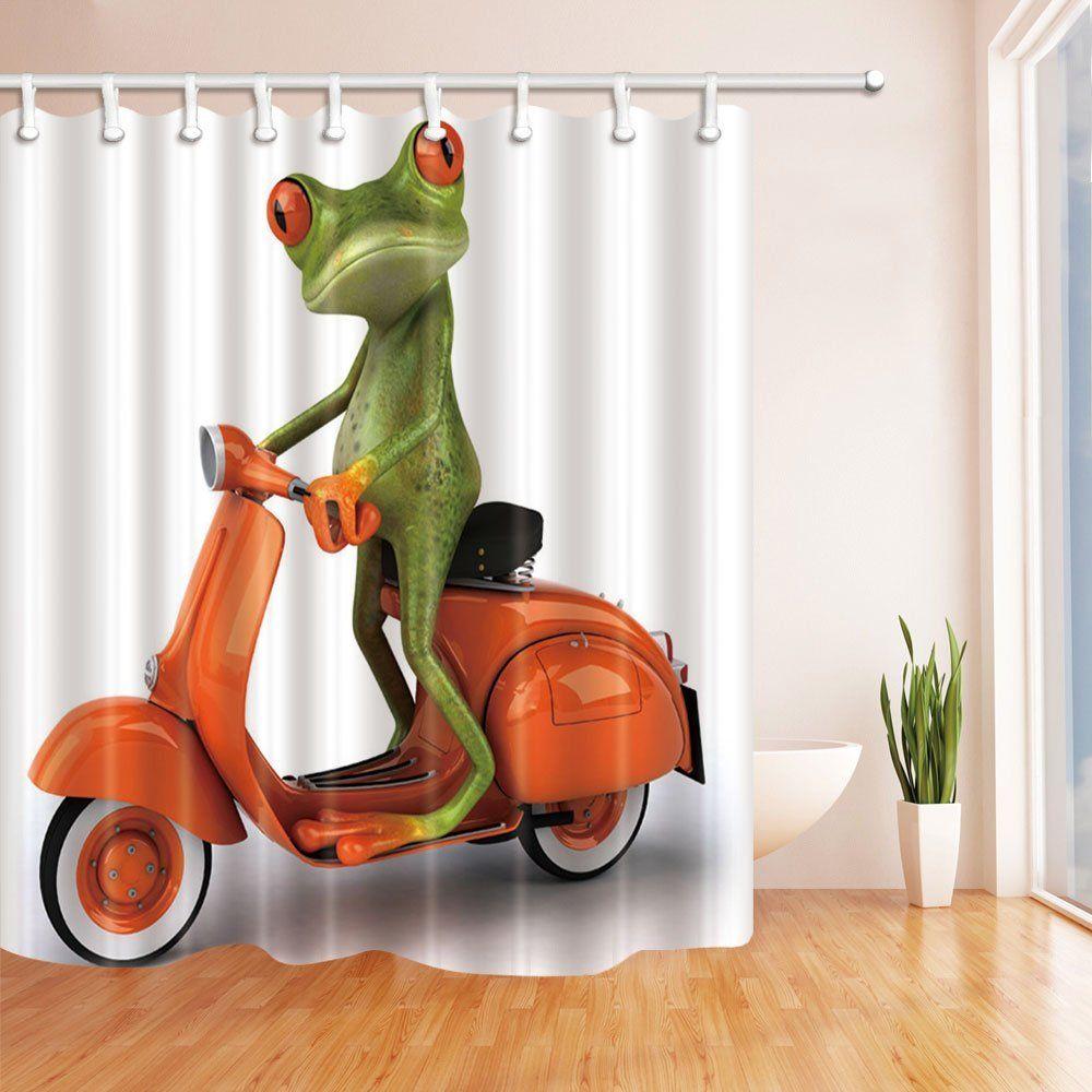 Digital-Printing-Animals-Frog-Riding-a-Orange-Motorcycle-Shower-Curtain