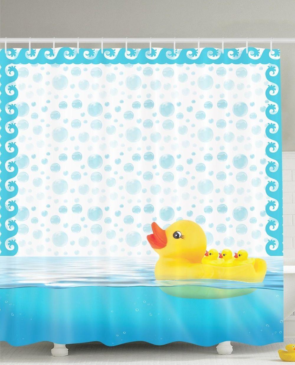 Nursery-Decor-Cute-Little-Rubber-Ducks-Shower-curtain