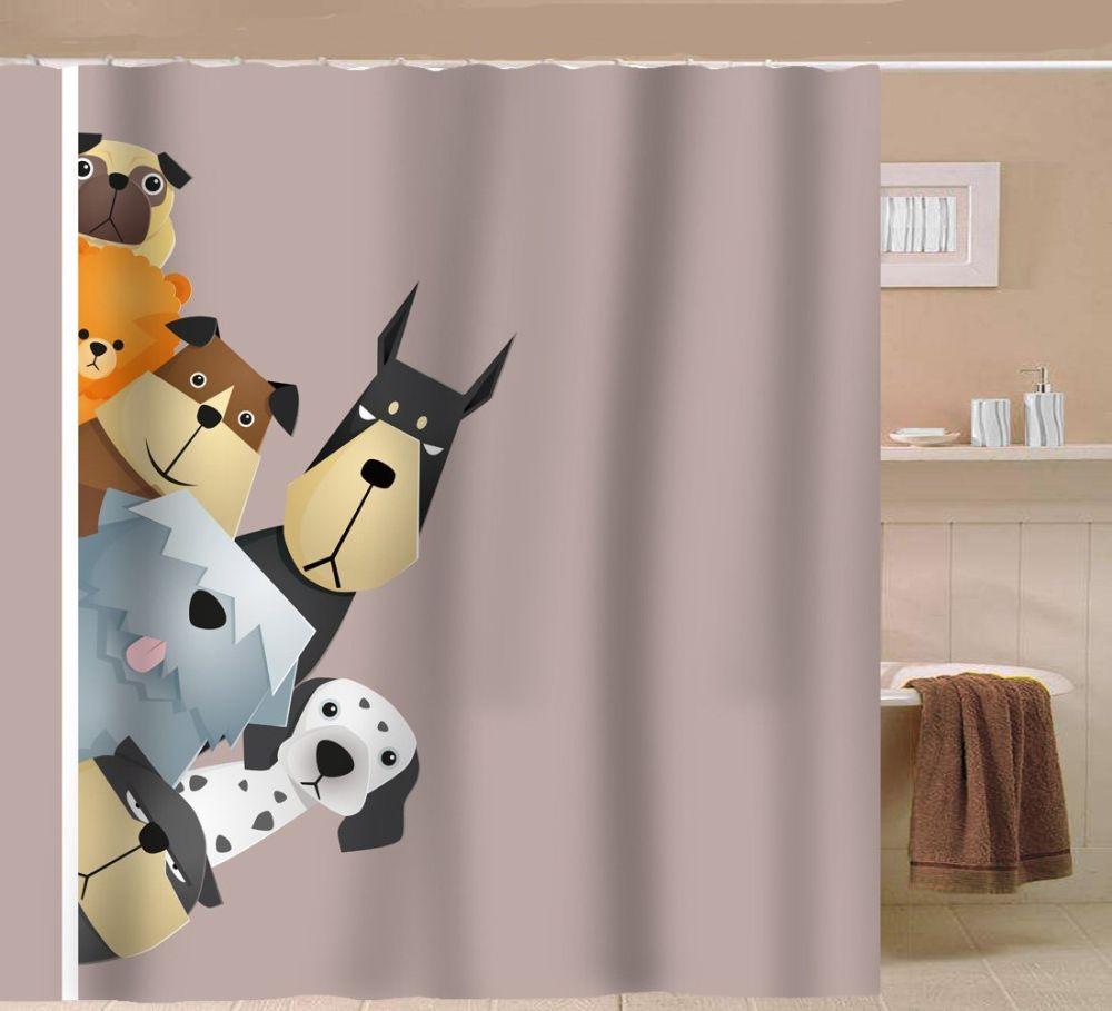 Sunlit-Peekaboo-Cute-Dogs-Curious-Cartoon-Puppy-Fabric-Shower-Curtain
