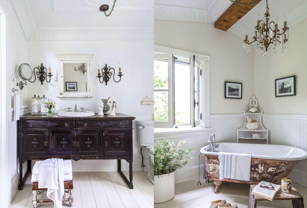 Beadboard-bathroom-with-vintage-furniture-and-tub